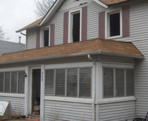 windows on old porch